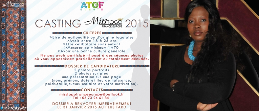 Miss Togo France Europe 2015 : La Courronne de la beauté Togolaise passe à la 4e édition
